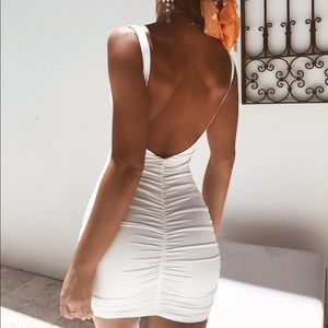 Tiger Mist backless white mini dress